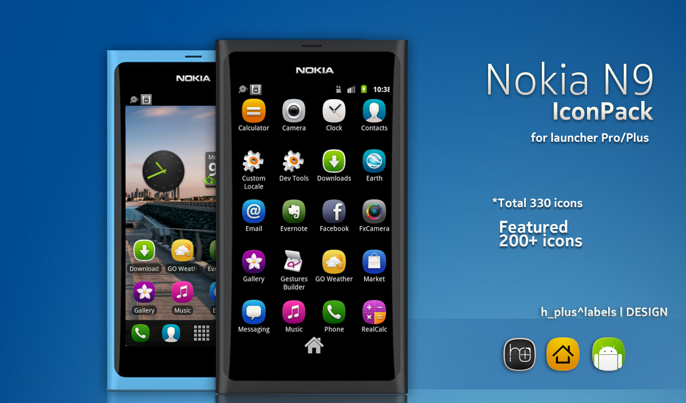 THe Nokia N9 IconPack for Launcher Pro by hpluslabels