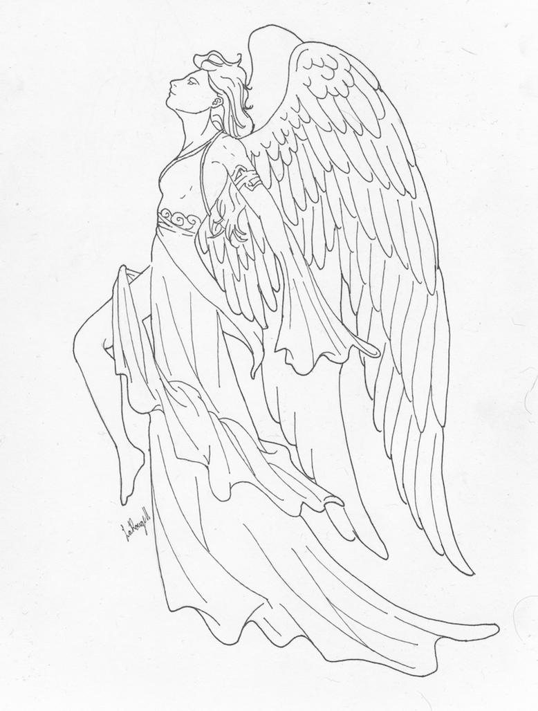 Line Drawing Angel : Angel lineart by larouge on deviantart