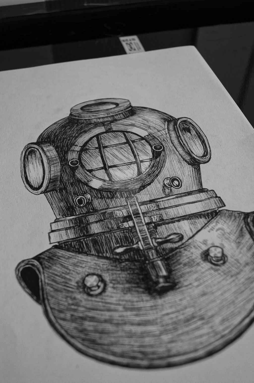 deep sea divers helmet tattoo design by tarin moore on deviantart. Black Bedroom Furniture Sets. Home Design Ideas