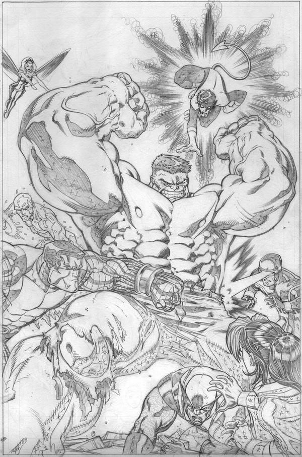 world war hulk x-men pencils by EdMcGuinness
