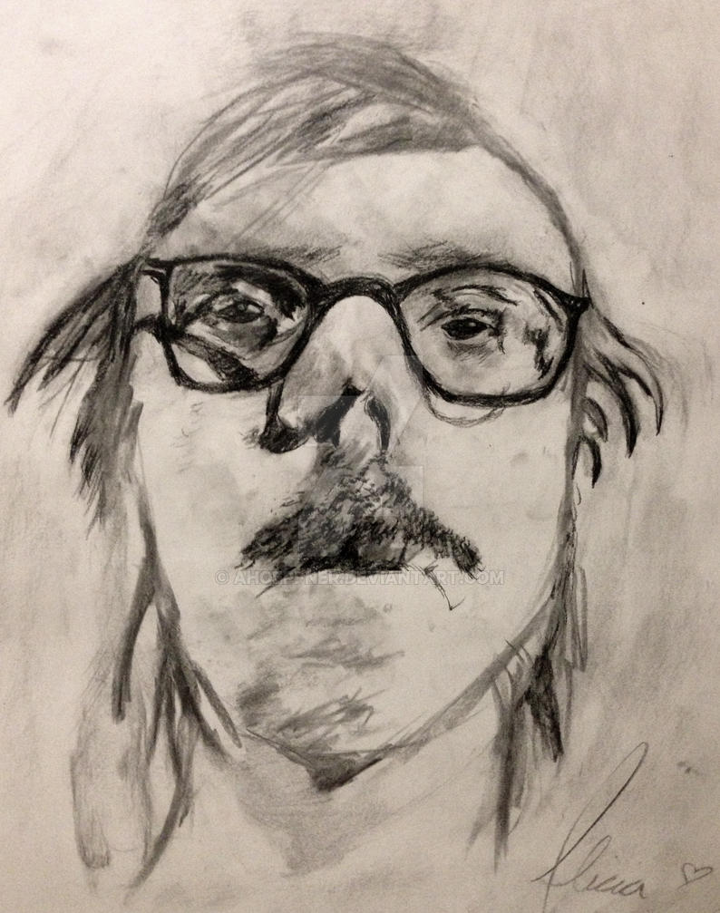 Portrait drawing based on famous artist (charcoal) by ...