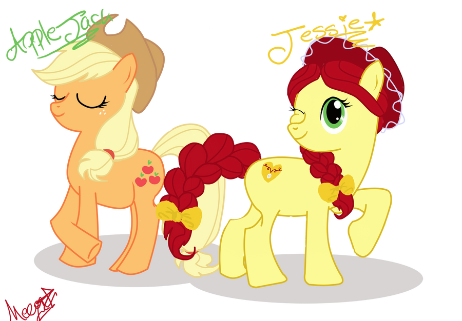 applejack and jessie the cowgirl by darkmatternova on deviantart