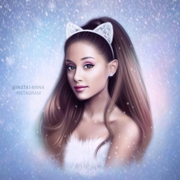 Ariana Grande Christmas Wallpaper: Santa Tell Me ( Ariana Grande Drawing ) By By-Inna On