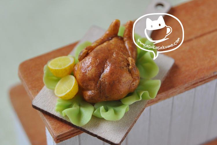 Scale 1:12 Miniature Roast Chicken by asuka-sakumo