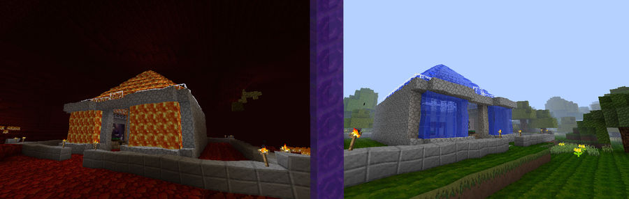 minecraft, lava and water temple