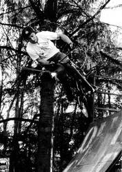 Black and white BMX on the half pipe