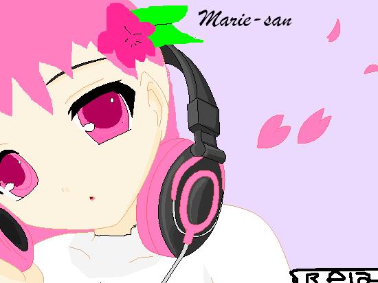 Marie-san with her Headphones by RandomDeviant12