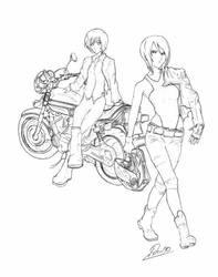 Kaname Kenjou and Amane Outori