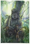 mew mew and buddha's statue