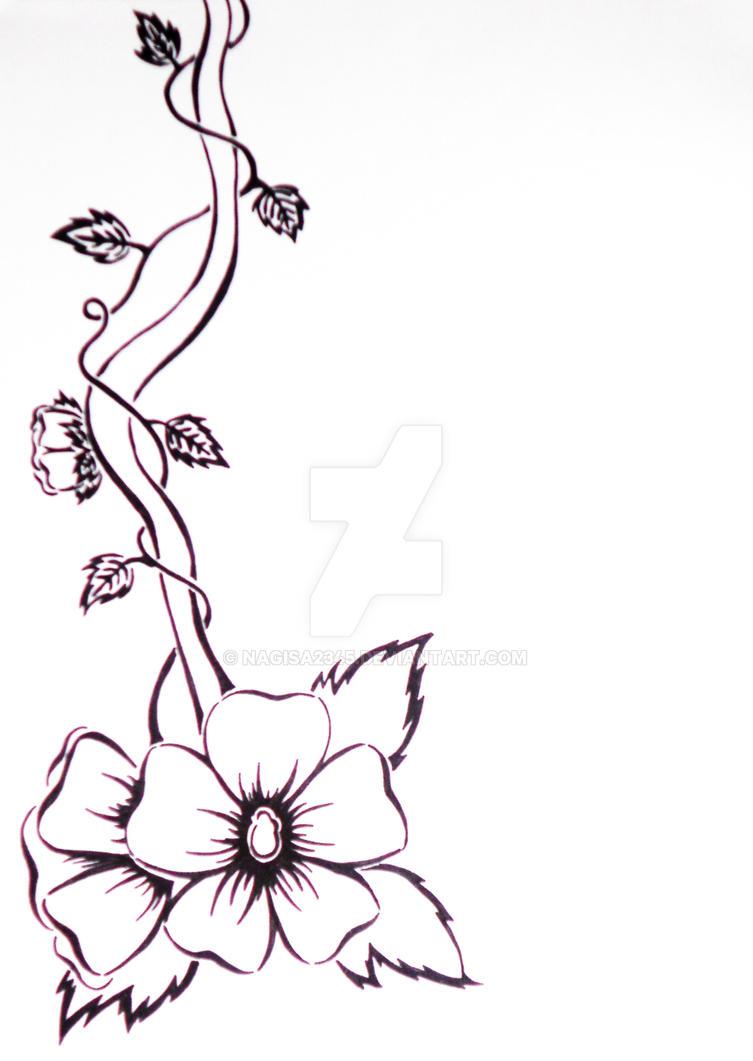 Vine Designs Art : Black and white flower vine by nagisa on deviantart