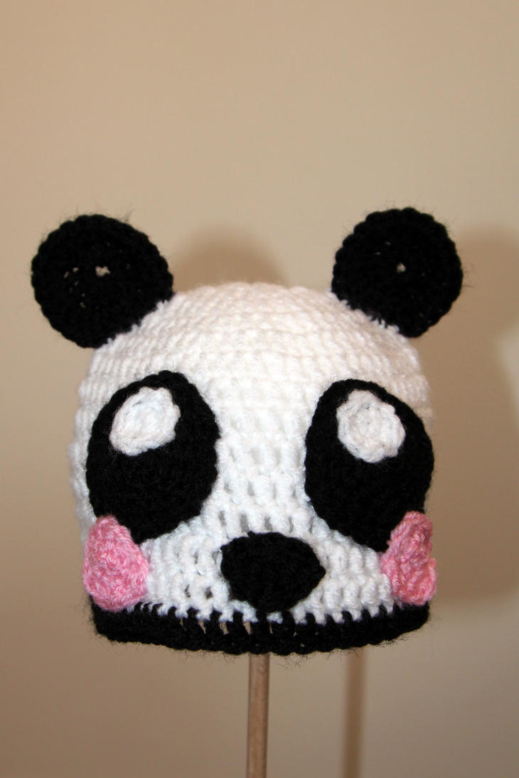 Cute panda crochet hat by raindropmelody