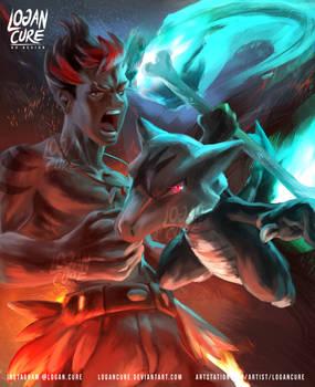 Alola   Marowak and Kiawe by Logan Cure