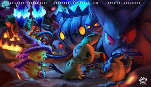Mimikyu and Pikachu - Pokemon halloween 2016