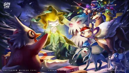 Pokemon christmas  Jirachi and Pikachu