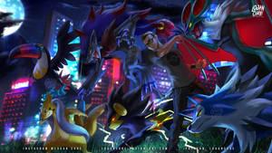 Commission: Lycanroc, Toucannon, Zoroark, Noivern