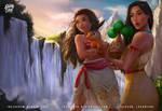 Moana and Pocahontas (Pokemon tepig bonsly)