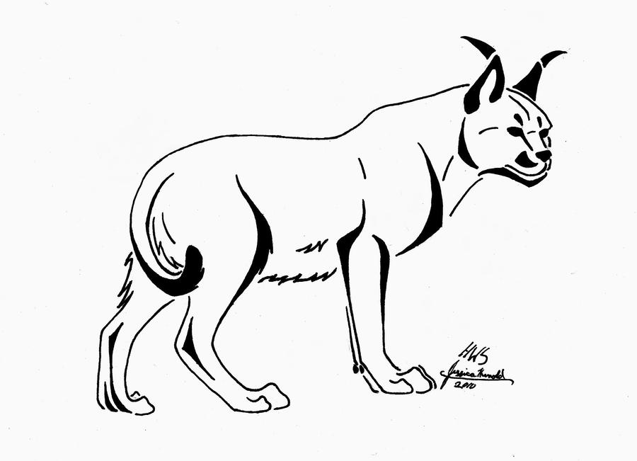 caracal tattoo design by howlingwolfsoul on deviantart Big Cat Coloring Pages  Caracal Coloring Page
