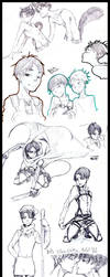Eren and Rivaille sketch by ziloDMK