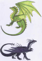 Green and Black Elder Dragons by Scatha-the-Worm