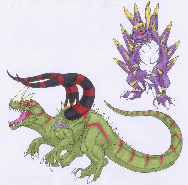 Tuskmon and Vielecmon by Scatha-the-Worm