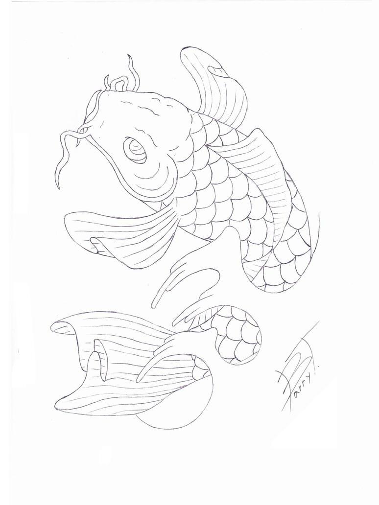 Koi tattoo flash stencil by barryt on deviantart for Koi fish stencil