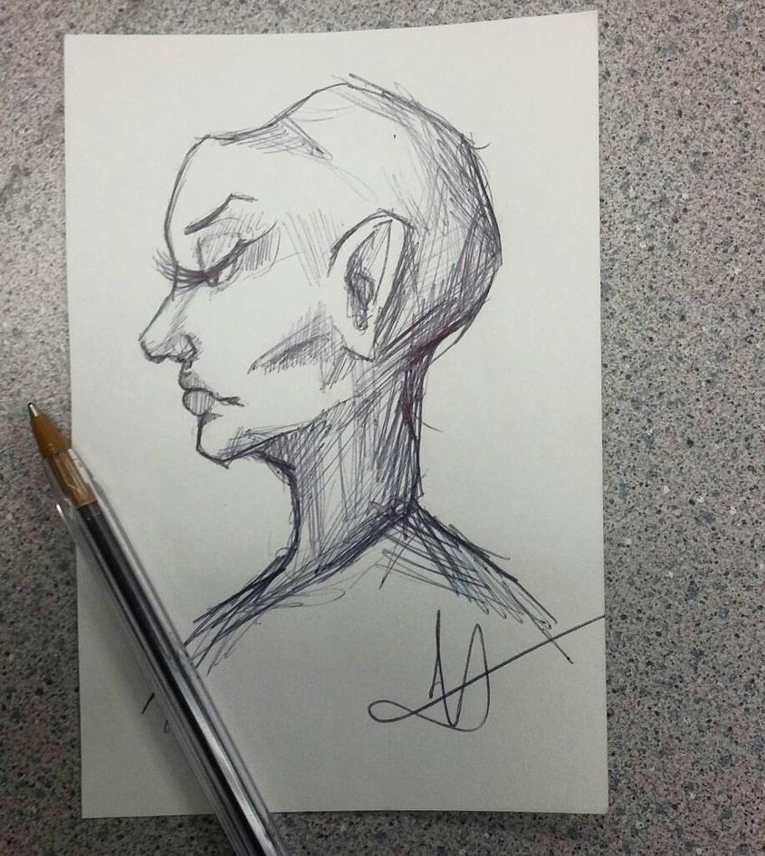 Alien Woman Doodle by LennyBug