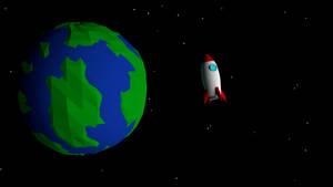 Cartoon Earth and Rocket