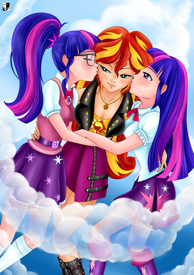 MLP: Sunset, Twilight and... Twilight by Lord--Opal