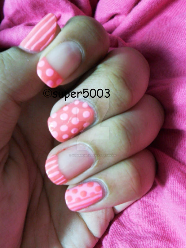 Stripes And Dots Nail Art by super5003