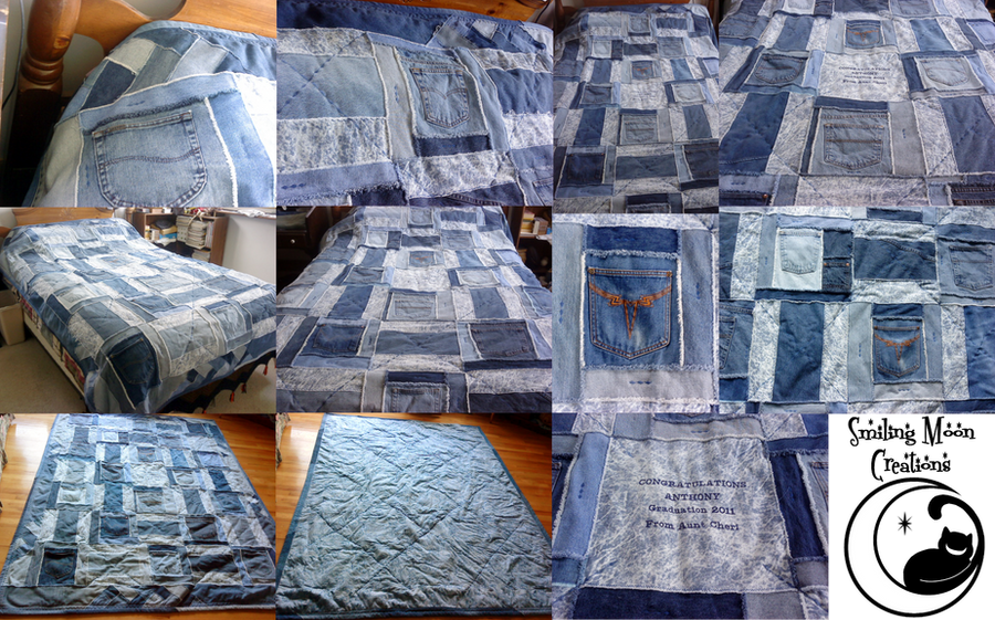 Jean Pocket Graduation Quilt By Smilingmooncreations On