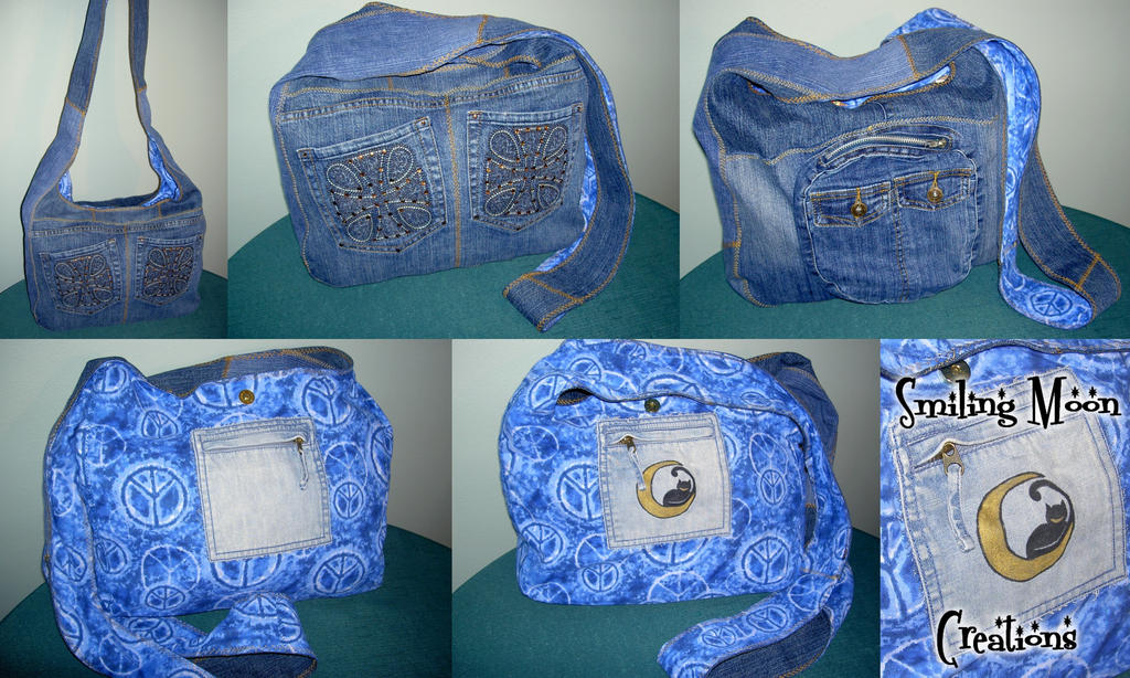 Recycled Peace Denim Hobo Bag