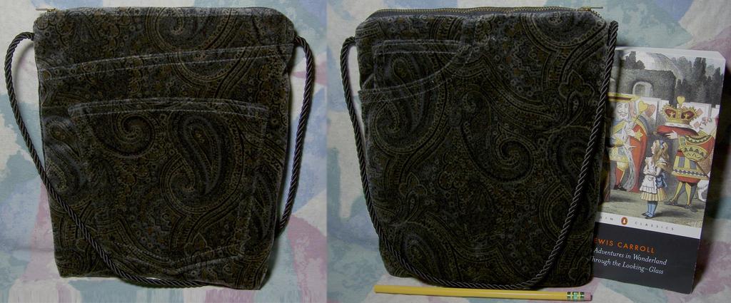 Dark Pasiley Velour Bag by SmilingMoonCreations