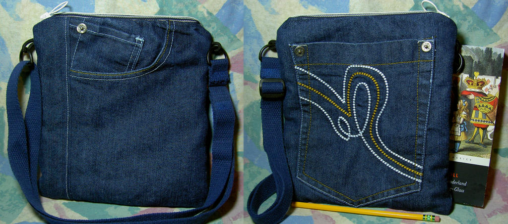 Large Squiggle Blue-Jeans Bag by SmilingMoonCreations