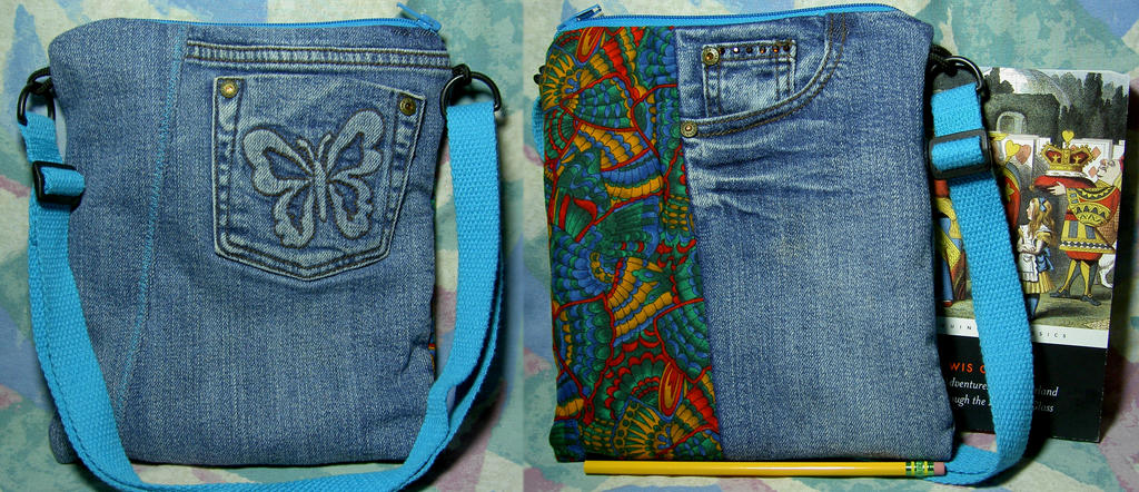 Butterfly Wings Blue Jeans Bag
