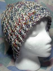 Grey w' Rainbow Sprinkles Hat by SmilingMoonCreations