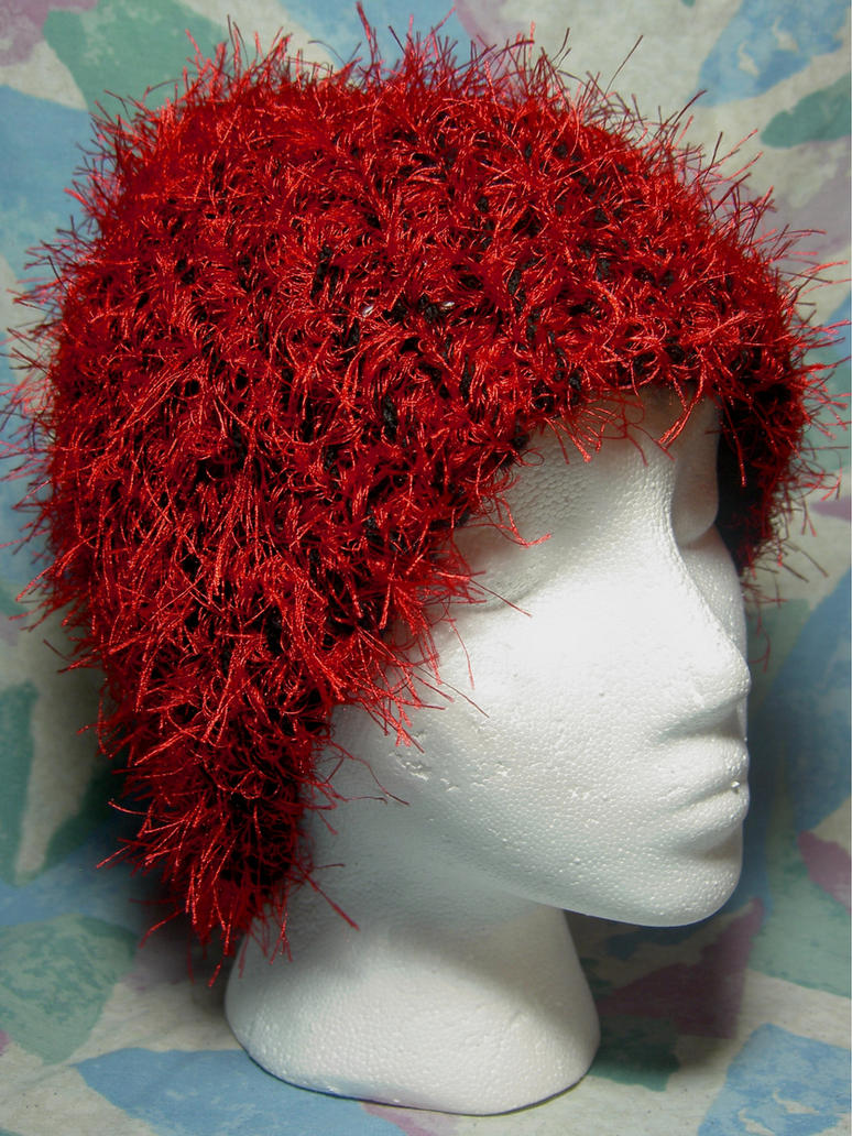 Red Whisps on Black Hand-Knit Hat
