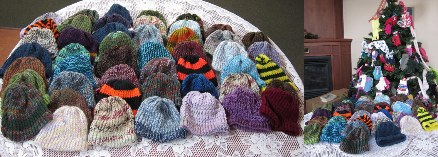 48 Hand-Knit Hats for Charity