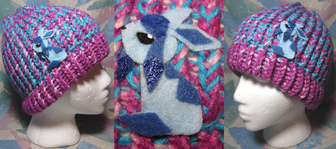 Glaceon Pokemon Hand-Knit Hat