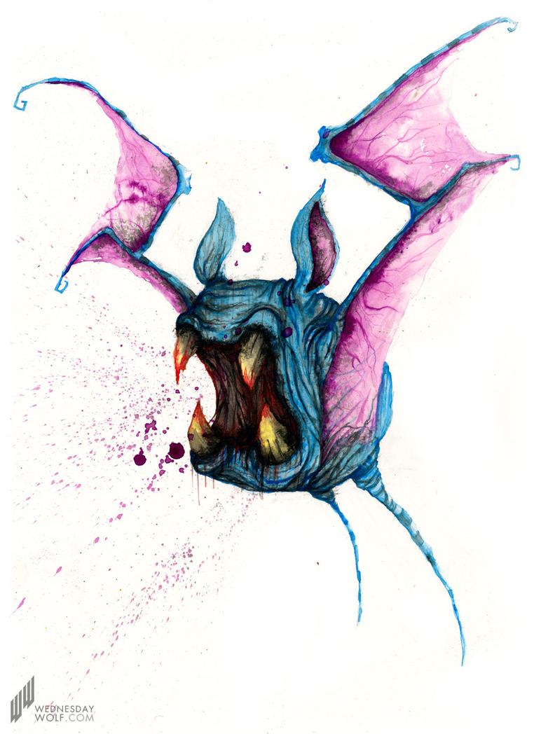 Zubat - Watercolour on Paper by wednesday-wolf