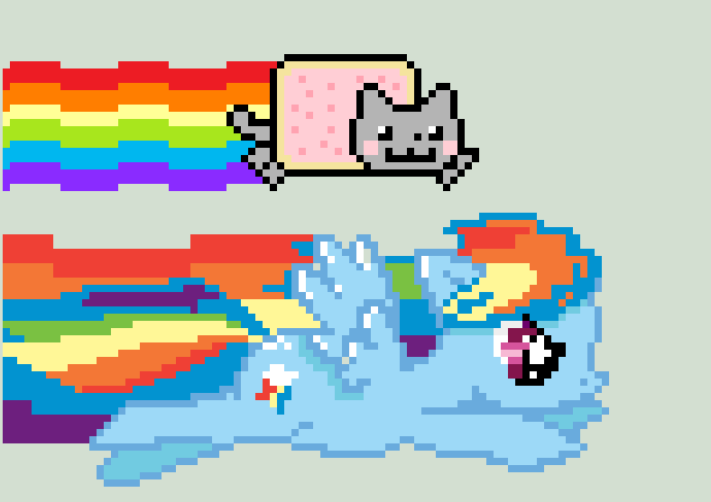 Nyan Cat And Rainbow Dash Rainbow Dash And Nyan Cat by