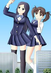 Two giant girls in city by swallowjp