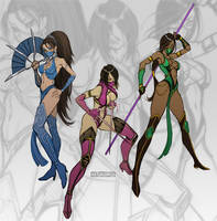 Kitana, Mileena, Jade MK9 by Seeso2D
