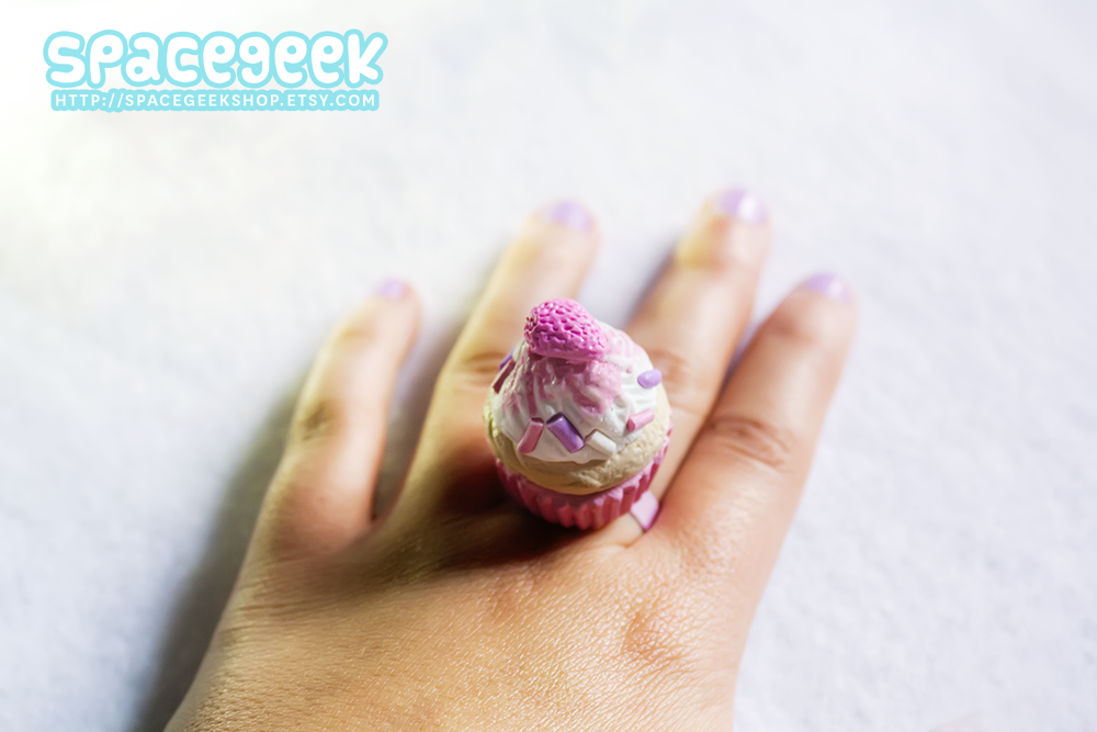 Pastel Strawberry Cupcake Ring by candypow