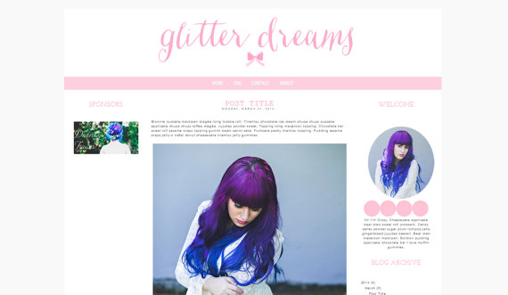 Blogger Template in Glitter Dreams in pink by candypow