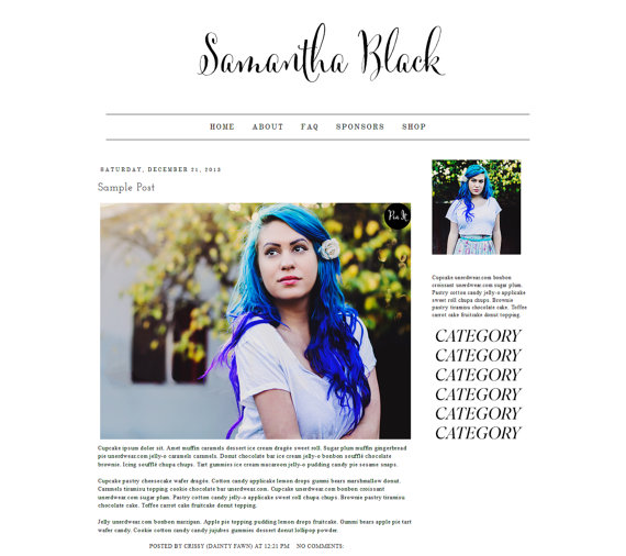 Samantha Black Blogger Template by tiny-moon