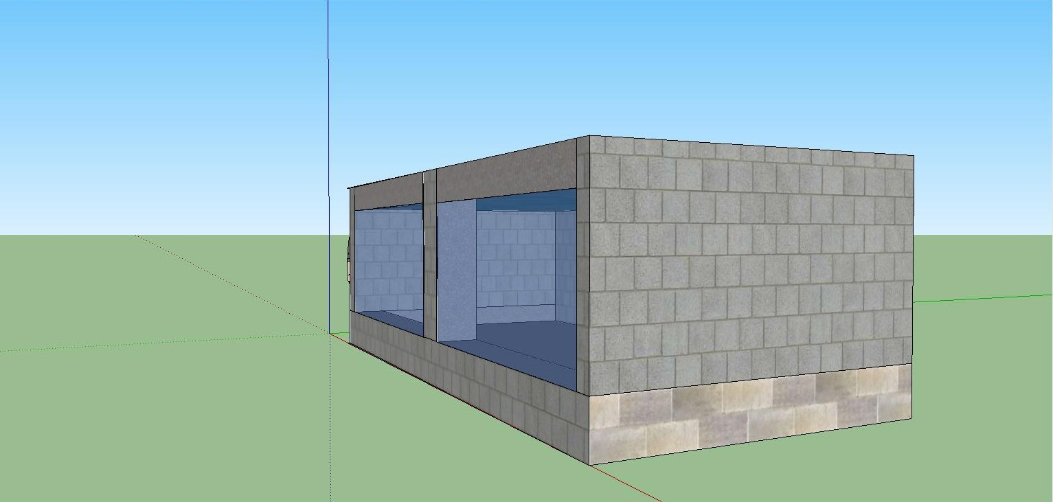 Side view off the 10 000 cinder block fish tank by for Concrete block building plans