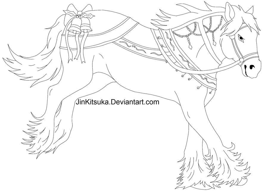 Christmas Horse Drawing.Free Christmas Horse Line Art By Jinkitsuka On Deviantart