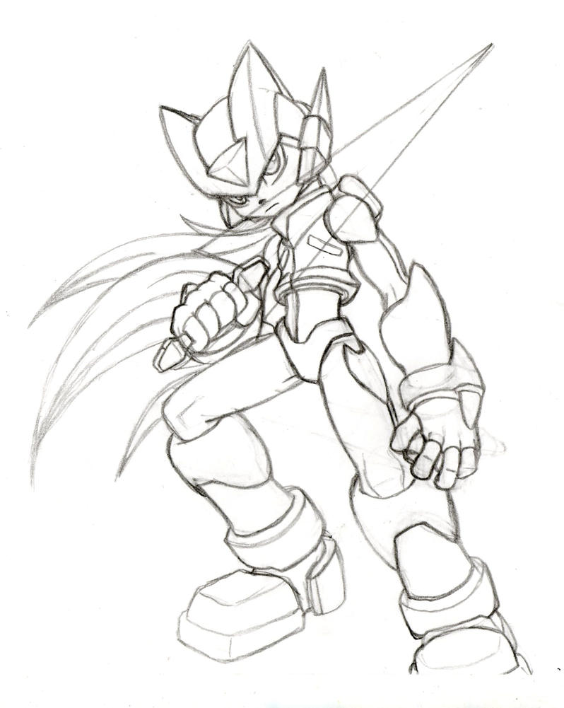 Megaman Zero Sketch Preview By Theatom035 On Deviantart Mega Man Coloring Pictures Pages