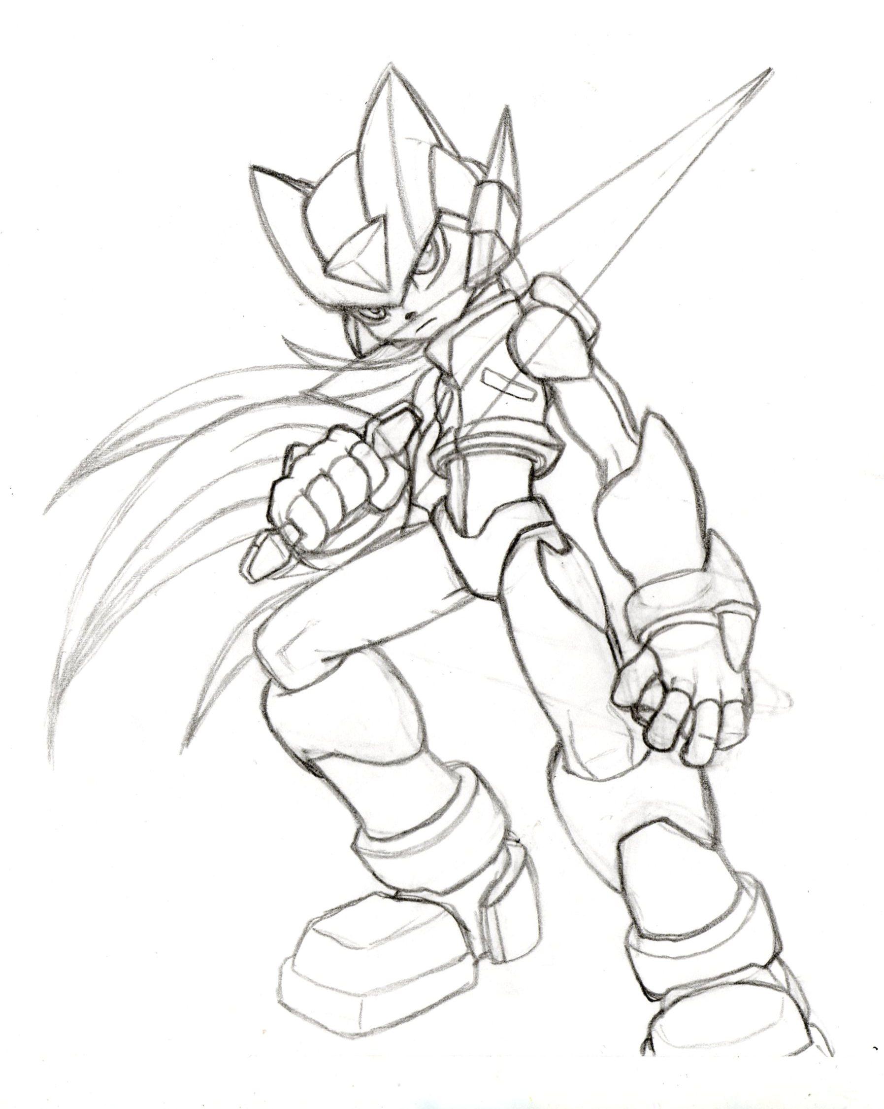 Line Art Zero : Megaman zero sketch preview by theatombomb on