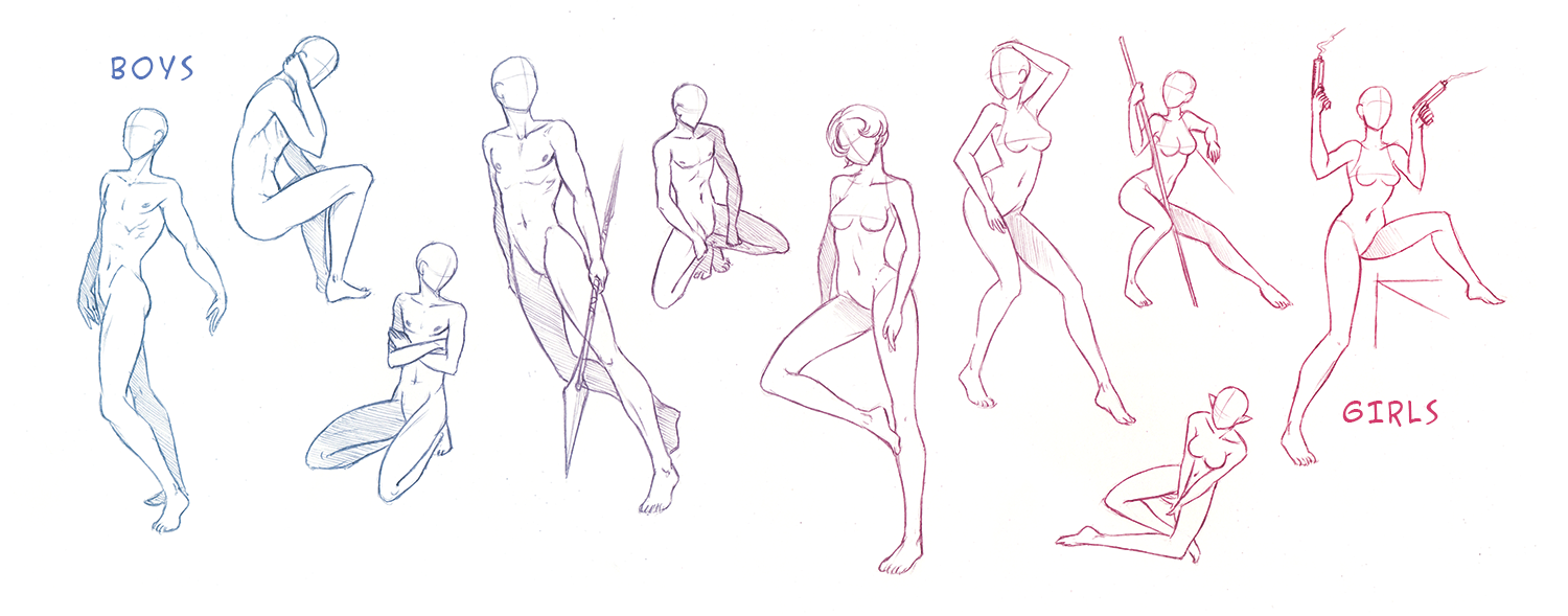 Male + Female Pose Refs by Clareesi
